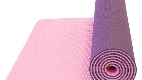 Podložka Yate Yoga Mat, dvouvrstvá, materiál TPE + taška růžová/fialová