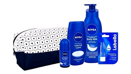 Nivea Creme Care sprchový gel dárková sada W - sprchový gel Creme Care 250 ml + antiperspirant Protect & Care 50 ml + tělové mléko Body Milk 400 ml + balzám na rty Labello Original 4,8 g + taška