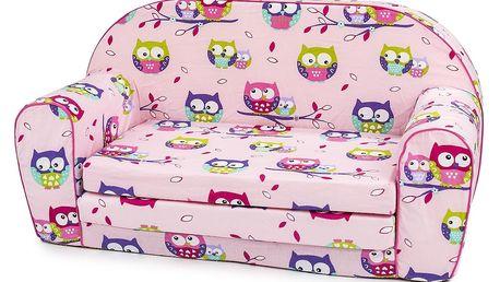 Bino Mini pohovka růžová, sovičky