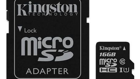 Paměťová karta Kingston MicroSDHC 16GB UHS-I U1 (45R/10W) + adapter (SDC10G2/16GB) + Doprava zdarma