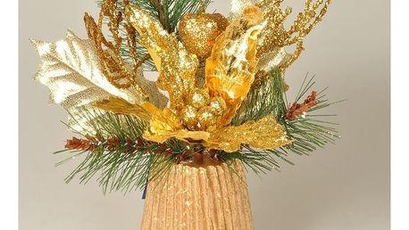 Aranžmá Poinsettie zlatá, 23 cm