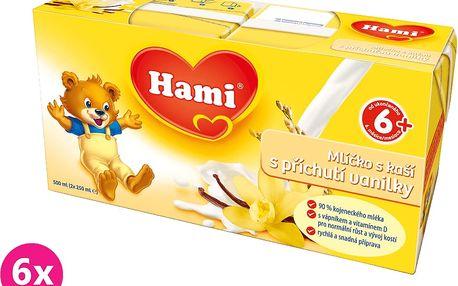 6x HAMI mlíčko s kaší s příchutí vanilky (2 x 250 ml)