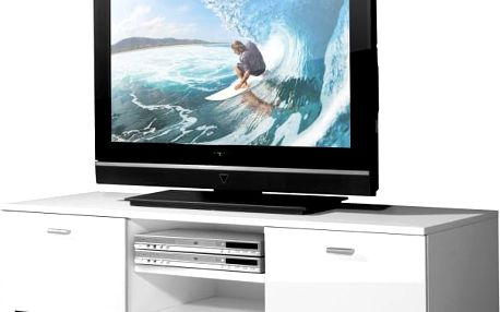 Easy - TV stolek, 3665-84 (bílá/bílá vysoký lesk)