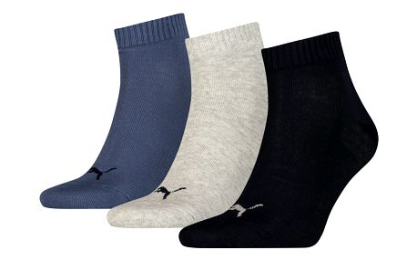 3PACK ponožky Puma navy grey nightshadow blue