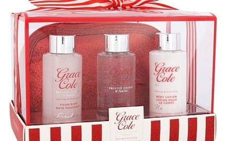 Grace Cole Frosted Cherry & Vanilla sprchový gel dárková sada W - sprchový gel Cleanse 100 ml + tělové mléko Nourish 100 ml + pěna do koupele Freshen 100 ml + kosmetická taška
