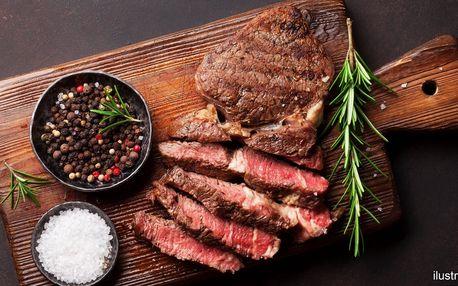 Hovězí steak s žampionovou omáčkou a víno
