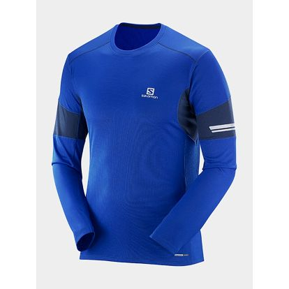 Tričko Salomon AGILE LS TEE M Blue Yonder/BIG BLUE-X/BL Modrá