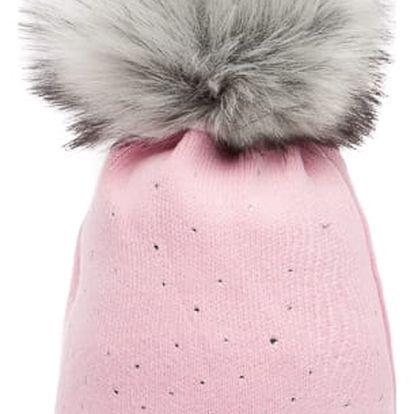 Růžová čepice Woolk s šedou bambulí a kamínky