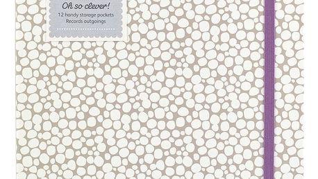 Busy B Notes na domácí účetnictví, fialová barva, béžová barva, krémová barva, papír