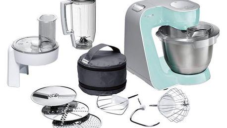 Kuchyňský robot Bosch CreationLine MUM58020 stříbrný/tyrkysový + DOPRAVA ZDARMA