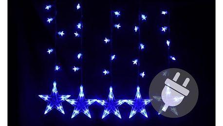 Závěs světelný hvězdy - 5 ks - 100 LED - modrá - 18000132