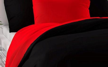Kvalitex Saténové povlečení Luxury Collection červená / černá, 140 x 200 cm, 70 x 90 cm