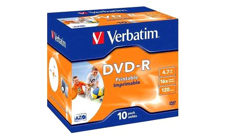 Disk Verbatim DVD-R 4.7GB, 16x, printable, jewel box, 10ks (43521)