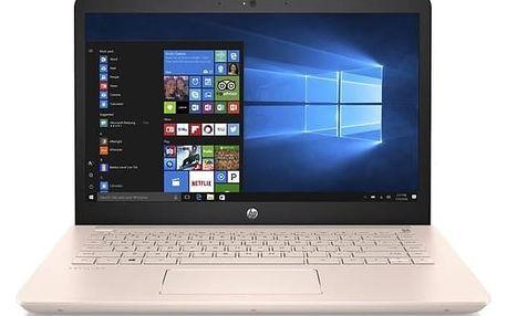 Notebook HP Pavilion 14-bk012nc (2PV74EA#BCM) stříbrný/růžový + Doprava zdarma