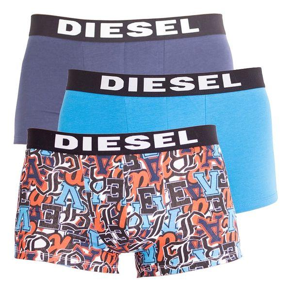 3PACK pánské boxerky Diesel modré s písmeny L