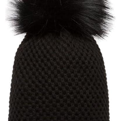 Černá pletená čepice Avanti s černou bambulí
