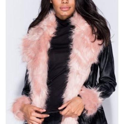Koženková bunda s růžovým kožichem Janis