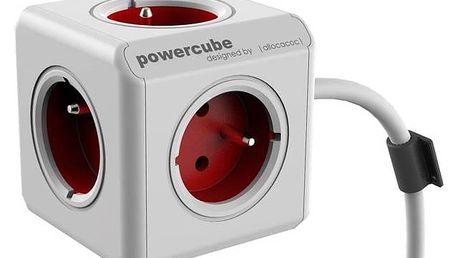 Kabel prodlužovací Powercube Extended, 5x zásuvka, 1,5m bílý/červený + Doprava zdarma