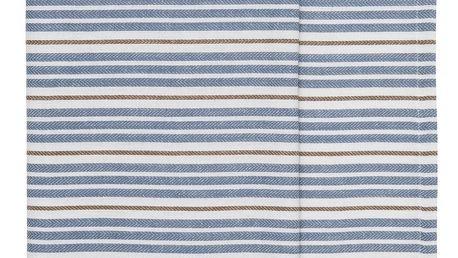 IB LAURSEN Běhoun na stůl Blue Brown Stripes, modrá barva, hnědá barva, textil