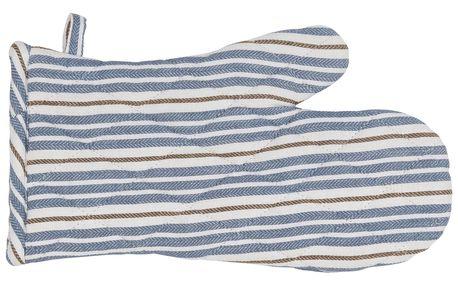 IB LAURSEN Chňapka Blue Brown Stripes, modrá barva, hnědá barva, textil