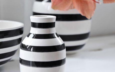 KÄHLER Váza Omaggio Black 14 cm, černá barva, bílá barva, keramika