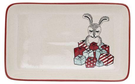 Bloomingville Keramický talířek Christmas Rabbit, červená barva, zelená barva, keramika