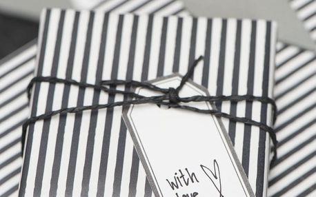 IB LAURSEN Balící papír Black Stripe - 10 m, černá barva, bílá barva, papír