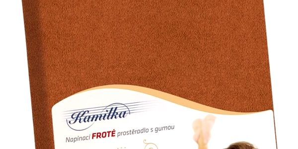 Bellatex Froté prostěradlo Kamilka hnědá, 200 x 220 cm