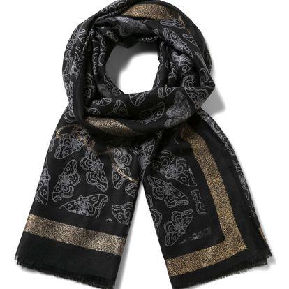 Desigual černý šátek Rectangle Polilla Roja