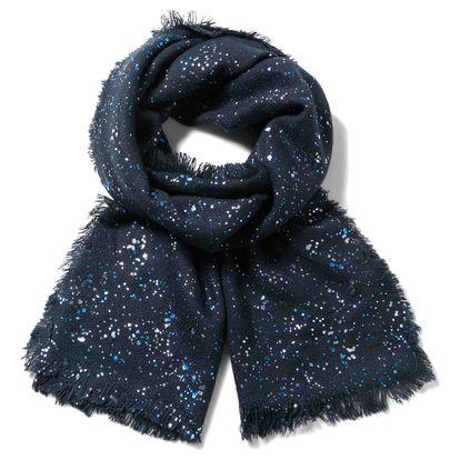 Desigual modrý zimní šál Rect. Metal Splatter