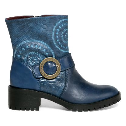 Desigual modré kožené boty Breaker Calypso