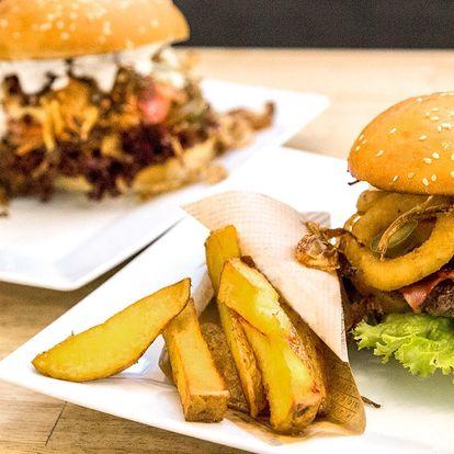 Šťavnatý burger dle výběru s hranolky pro dva