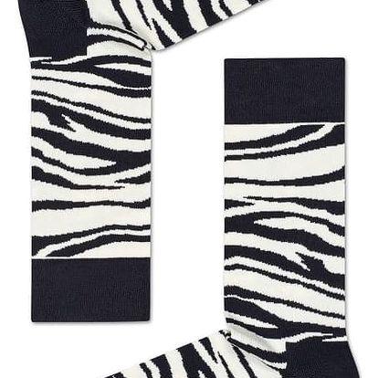 Happy Socks černo-bílé pánské ponožky Zebra