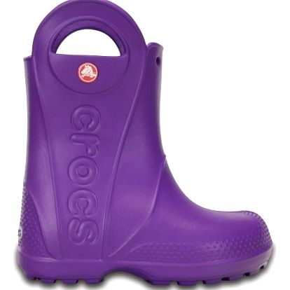 Crocs fialové dětské holínky Handle It Rain Boot Kids Neon Purple
