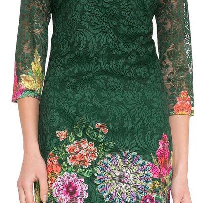 Desigual zelené krajkované šaty Chipi