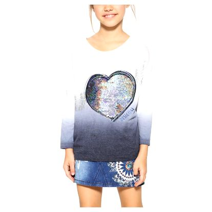 Desigual modro-bílé dívčí triko Cosa