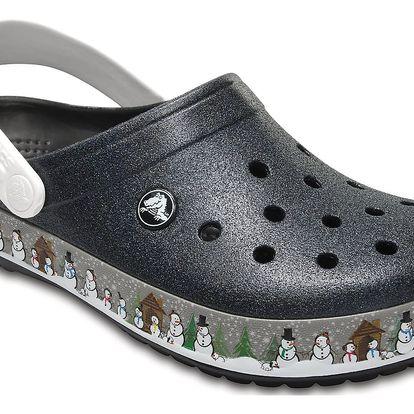 Crocs černé pantofle se zimním motivem Crocsband Holiday Clog