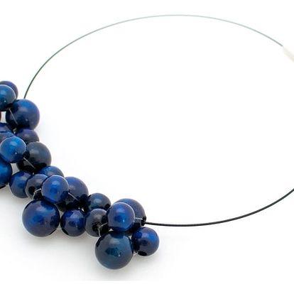 Modrý dřevěný náhrdelník Ko–ra–le Bubbles