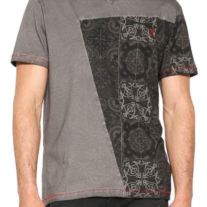 Desigual tmavě šedé pánské triko Catai