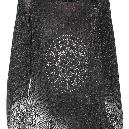 Desigual černo-stříbrný svetr Pullover