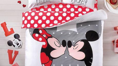 Bavlněné povlečení s prostěradlem na dvoulůžko TAC Mickey&Minnie, 200x220 cm - doprava zdarma!