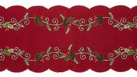 Forbyt Vánoční ubrus Cesmína červená, 35 x 160 cm, 35 x 160 cm