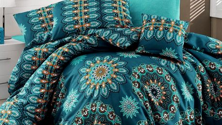 Tyrkysové povlečení s prostěradlem Hula Turquoise, 200x220cm