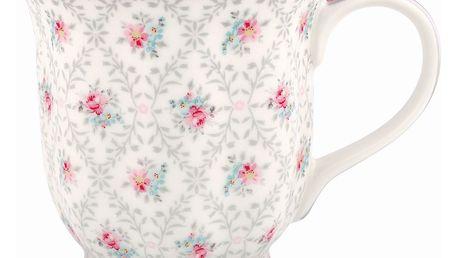 GREEN GATE Hrneček Daisy pale grey 200 ml, růžová barva, šedá barva, bílá barva, porcelán