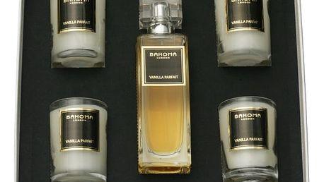 Sada 4 vonných svíček a pokojového spreje Bahoma Vanilla Parfait