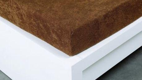 XPOSE ® Froté prostěradlo Exclusive dvoulůžko - hnědá 200x220 cm
