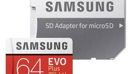 Paměťová karta Samsung Micro SDXC EVO+ 64GB UHS-I U3 (100R/60W) + adapter (MB-MC64GA/EU) + Doprava zdarma