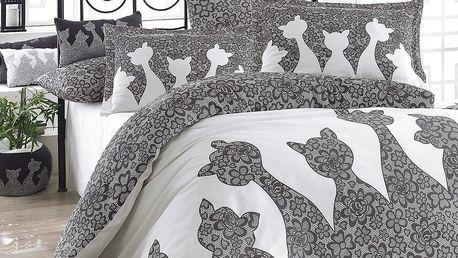 Šedé povlečení s prostěradlem na dvoulůžko z bavlněného popelínu Jazz Black,200x220cm - doprava zdarma!