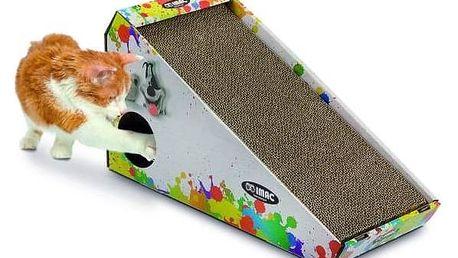 Škrábadlo Argi kartonové pro kočky s hračkou a šantou - 48 x 27 x 20 cm Toaleta Argi s rámem a vysokým okrajem - 45 x 36 x 15,5 cm - zelená (zdarma)
