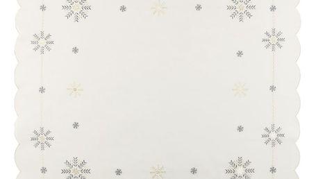Forbyt Vánoční ubrus Vločky bílá, 85 x 85 cm, 85 x 85 cm